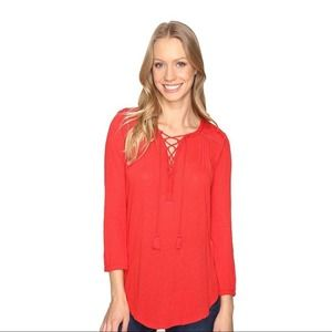 Lucky Brand   Red Front Lace Up Pullover Blouse